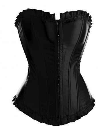 Black Satin Corset Top with Pleated Trim