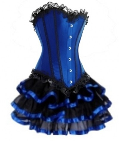Blue Lace-up Corset Outfit & Ribbon Burlesque Skirt