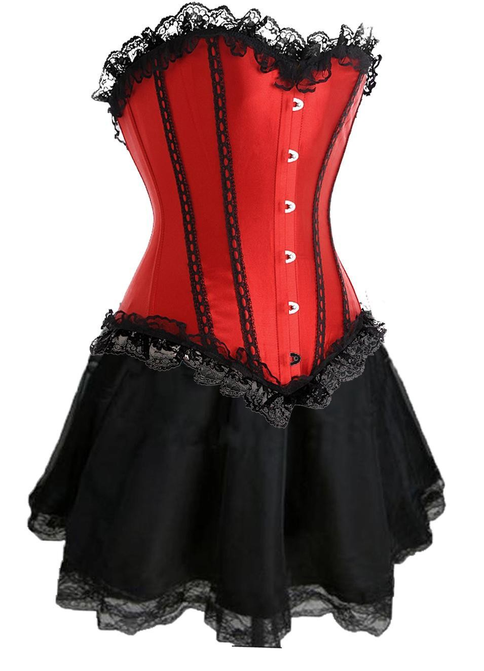 Red Lace-up Corset Outfit & Burlesque Skirt