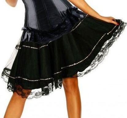 Black Satin Skirt with Pink Ribbon Trimmings