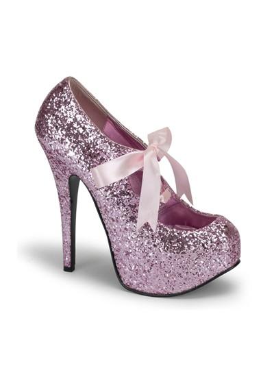 Pink Glitter Bordello Platform Shoes