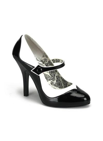 bordello black white patent burlesque court shoes