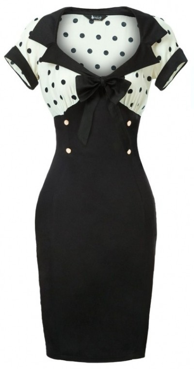 Black and White Polka Dot Wiggle Dress