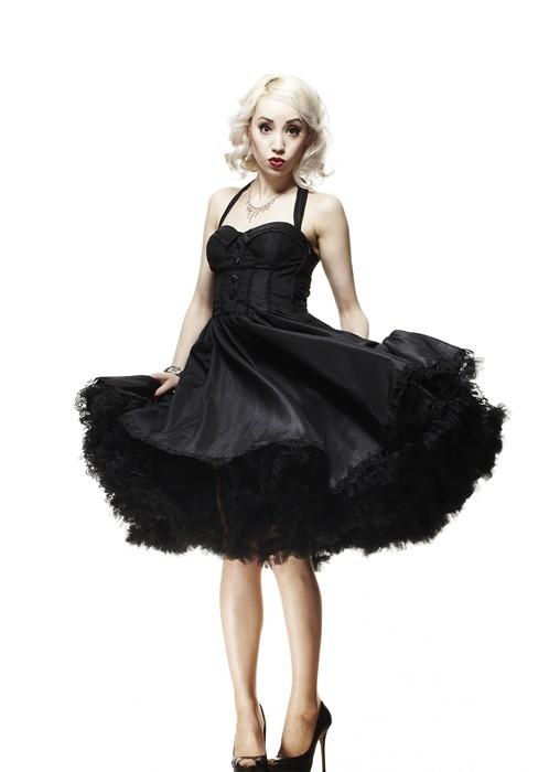 Black Halter Neck 50s Circle Dress