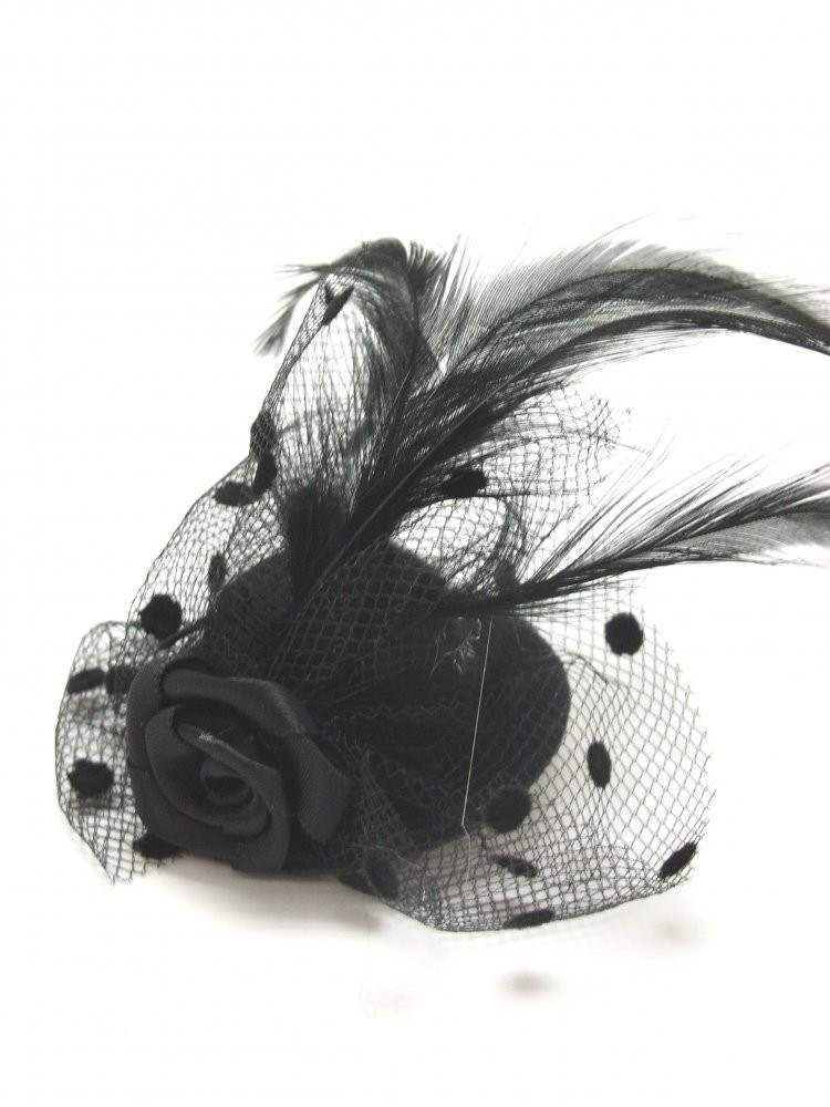 Black Burlesque Miniature Hat Hairclip