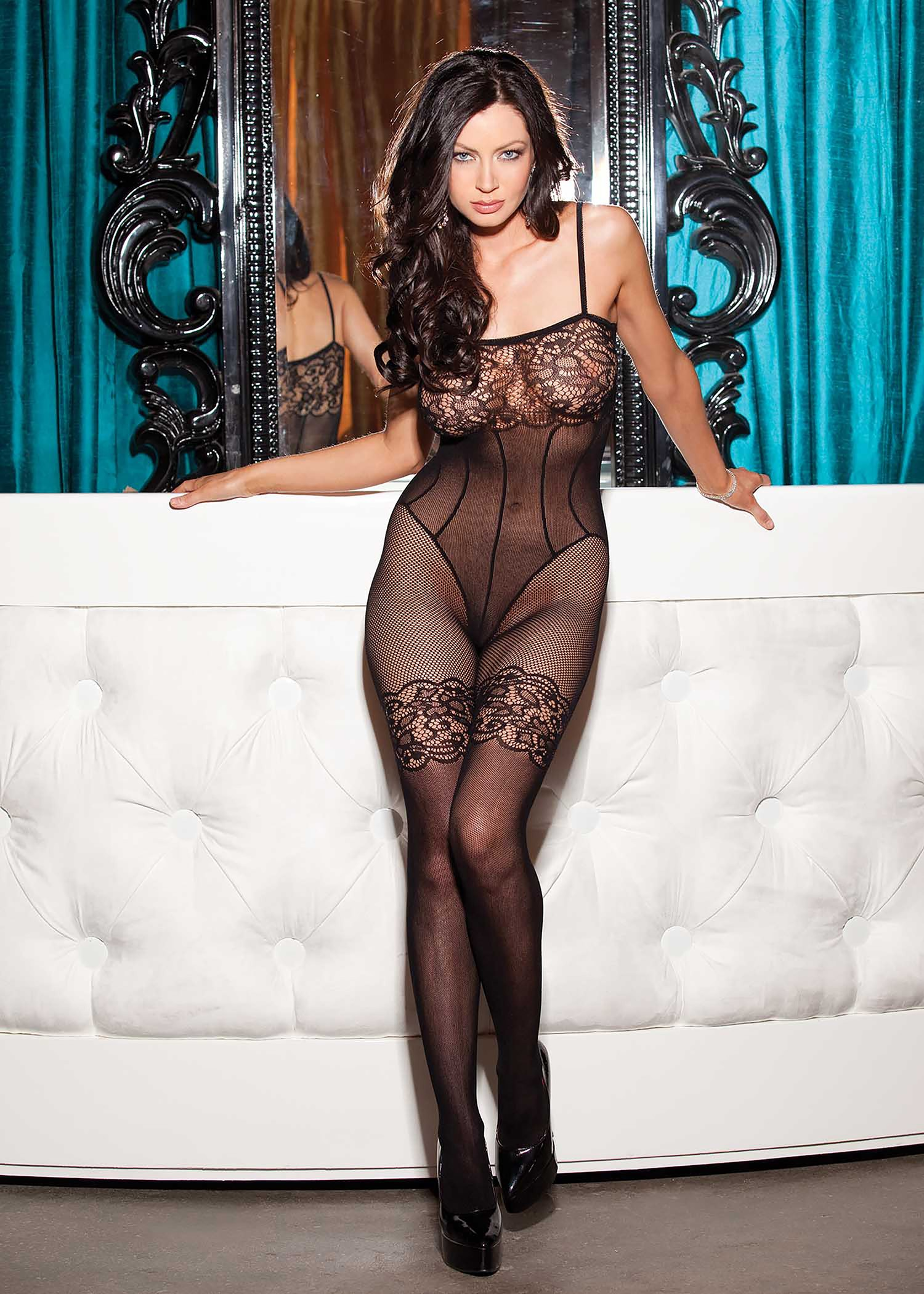Shirley of Hollywood 90278  Stretch Lace & Fishnet Bodystocking