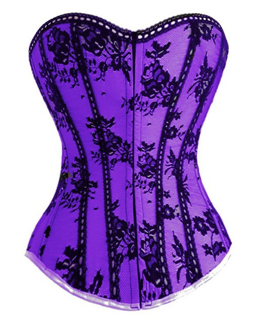 Purple Satin & Black Lace Corset