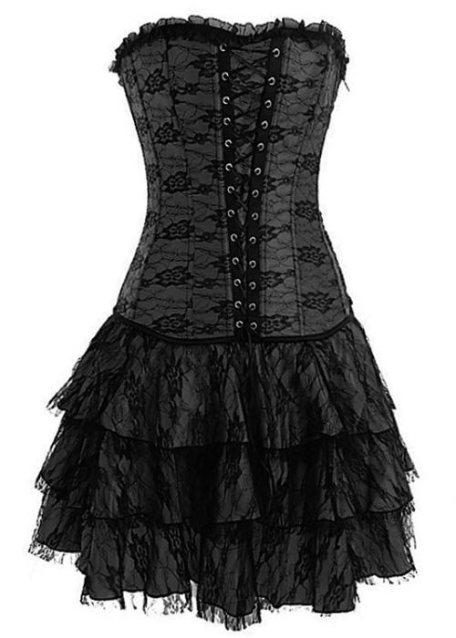Black Layered Lace Corset Dress