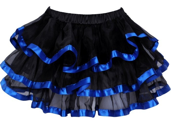 Black  and Blue Layered Ribbon Burlesque Skirt