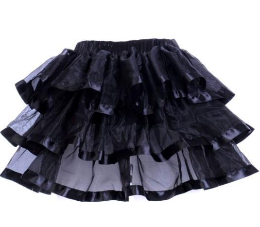 Black Layered Ribbon Burlesque Skirt