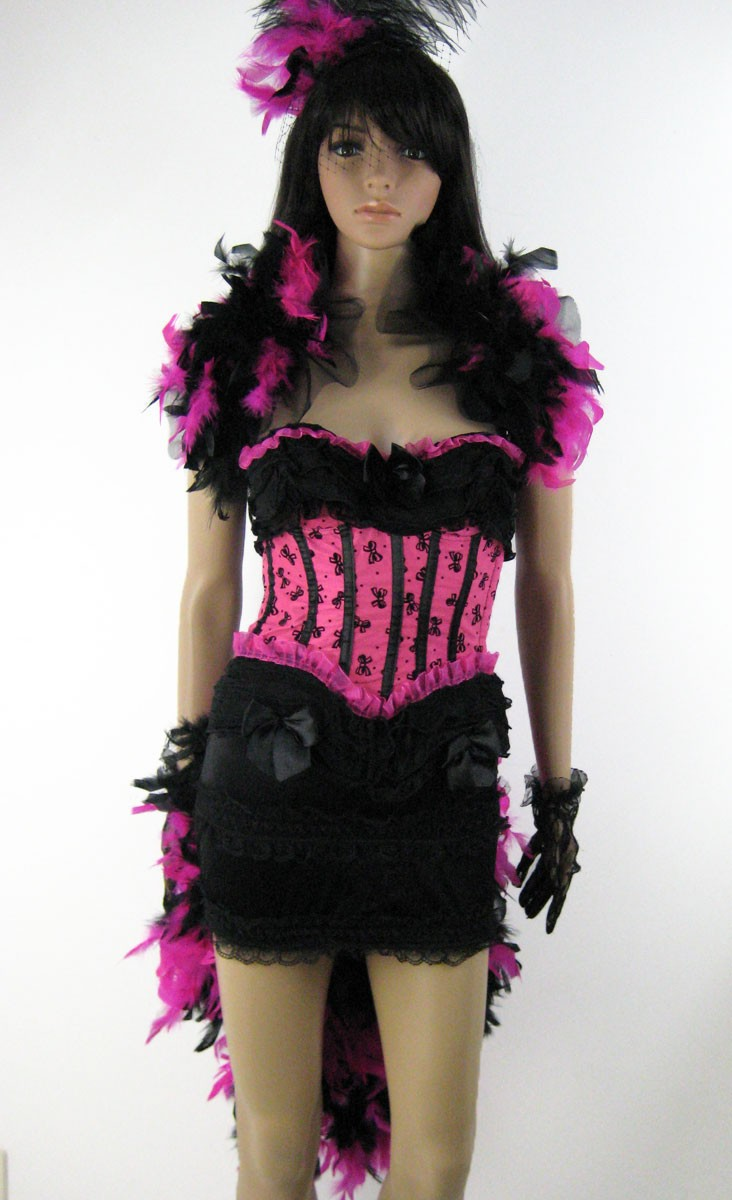 Hot Pink Fuchsia Corset Feather Skirt Outfit (incl *FREE* Gloves!)