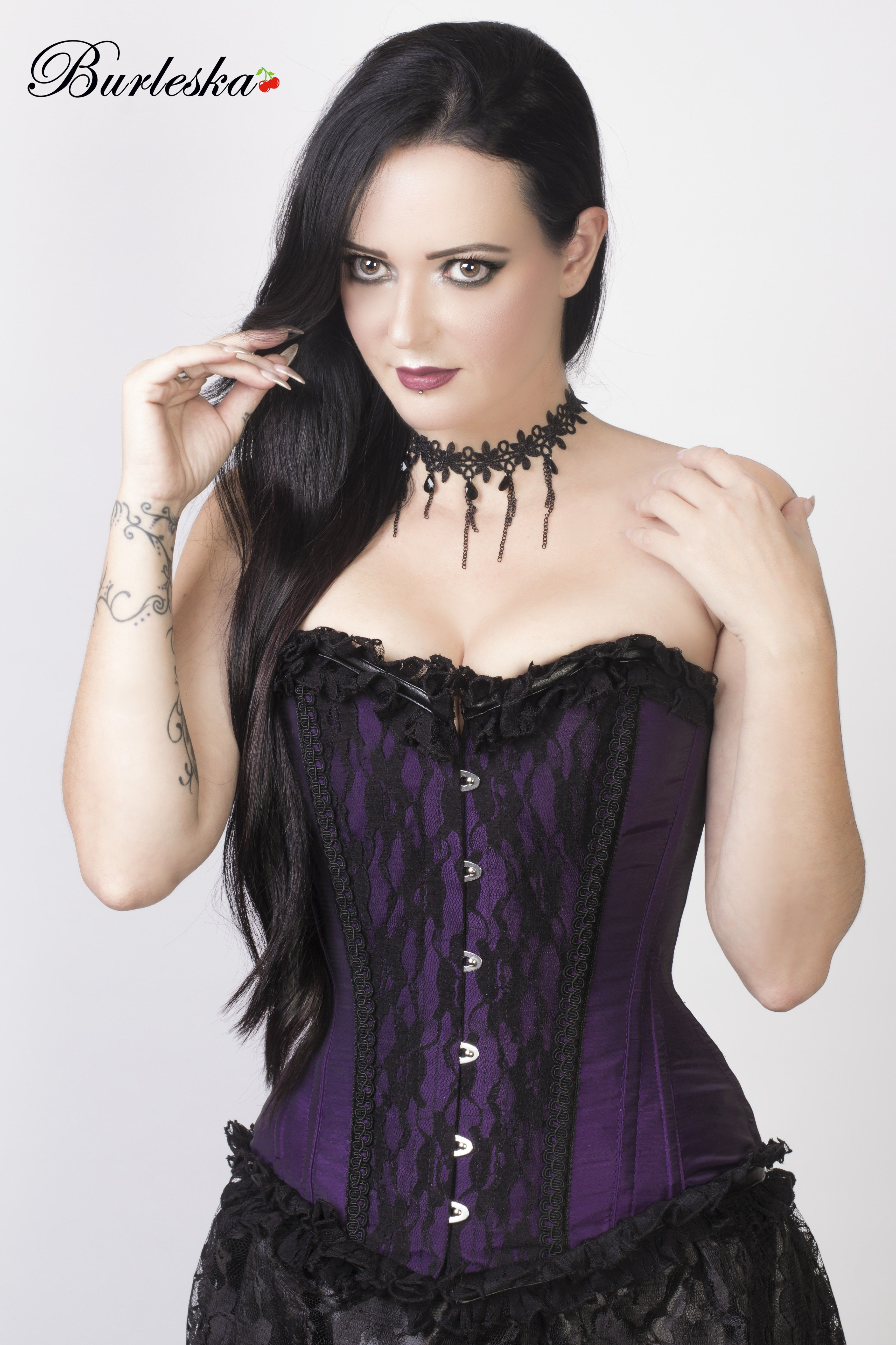 Elizium Purple Taffeta Steel Boned Corset