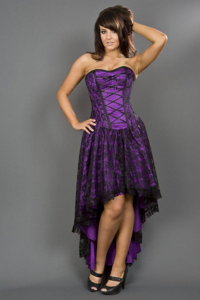 Purple Mollflander Satin & Lace Dress