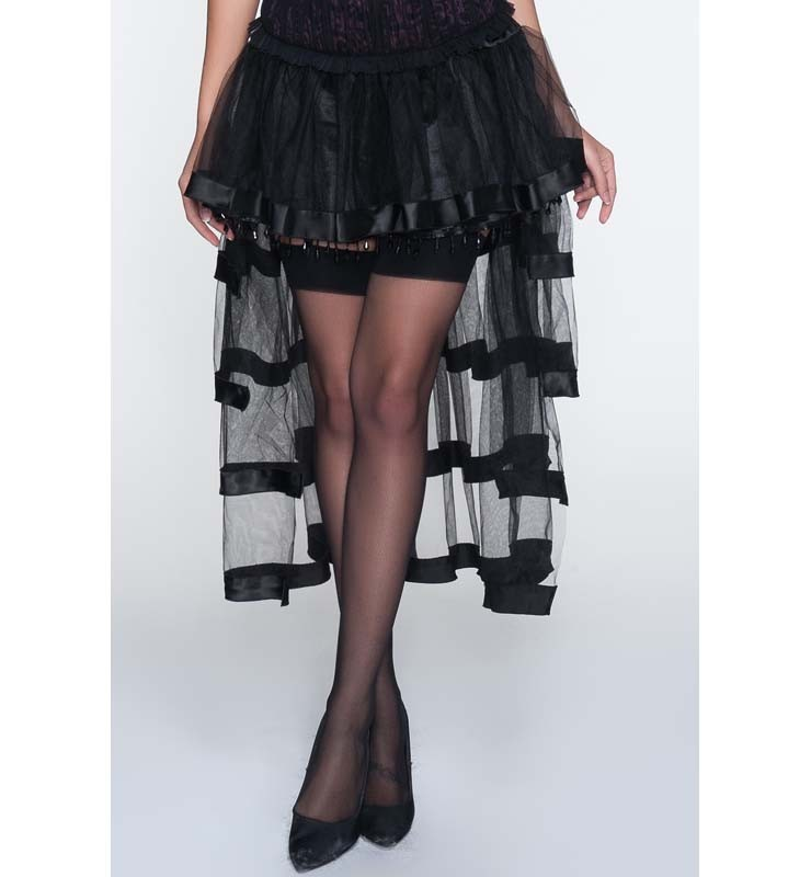 Black Hi-Lo Beaded Petticoat Skirt