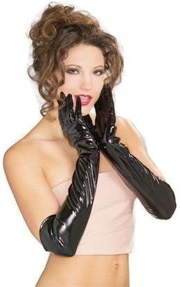 Black Vinyl Long Gloves