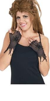Fishnet Gloves With Latex Spiders