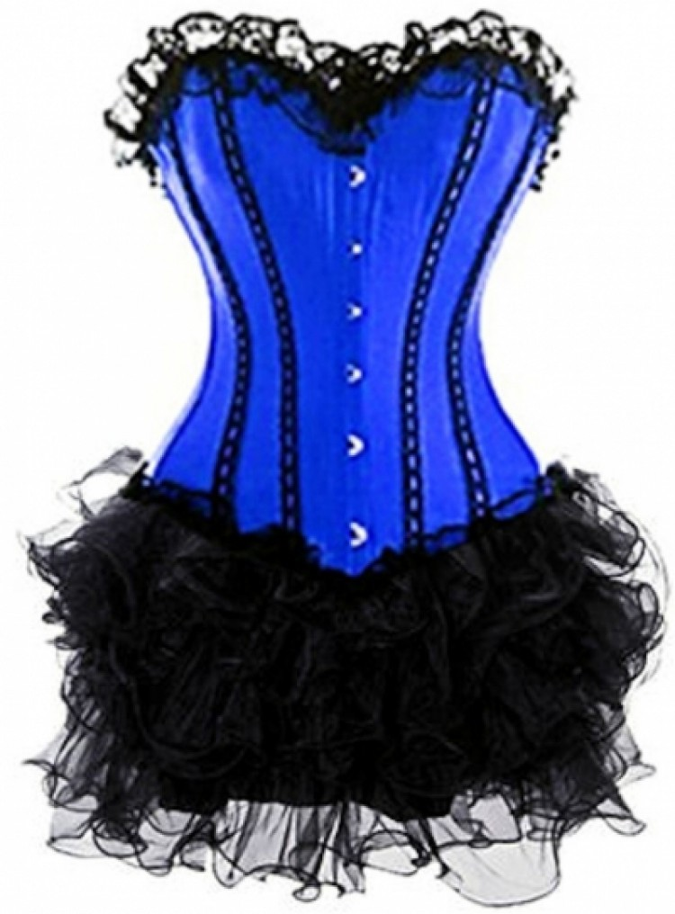Blue Lace-up Corset Outfit & Burlesque Tutu