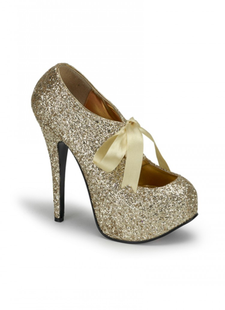 Gold Glitter Bordello Platform Shoes