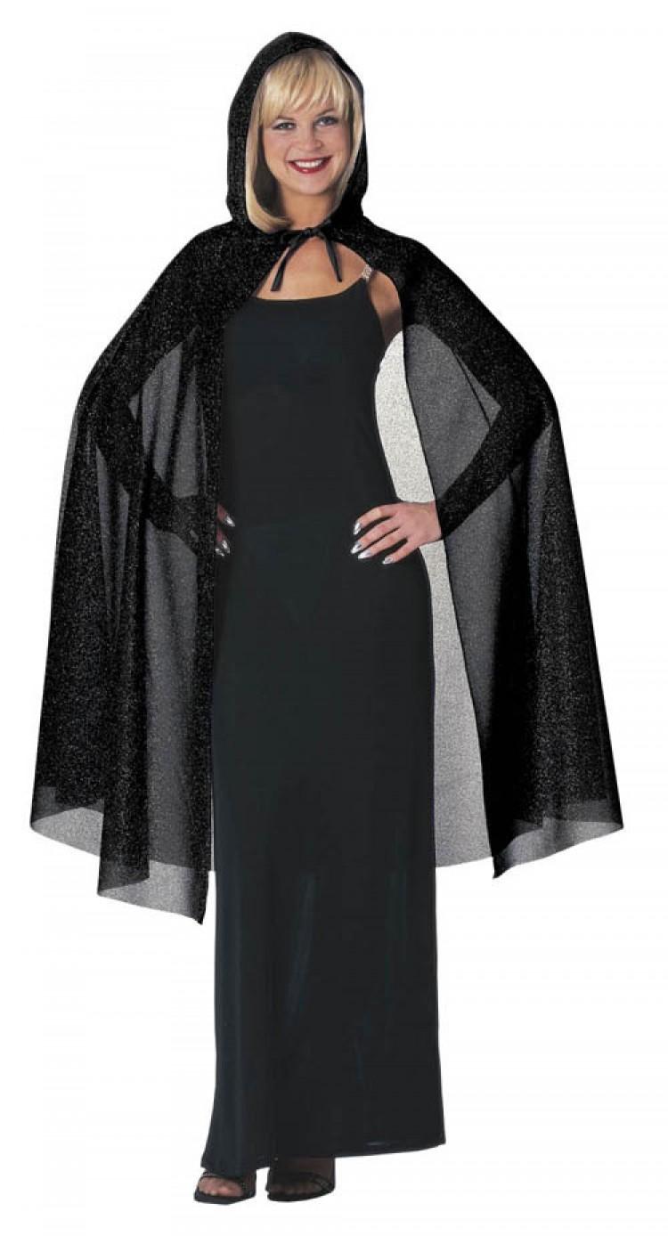Black Hooded Glitter Cape