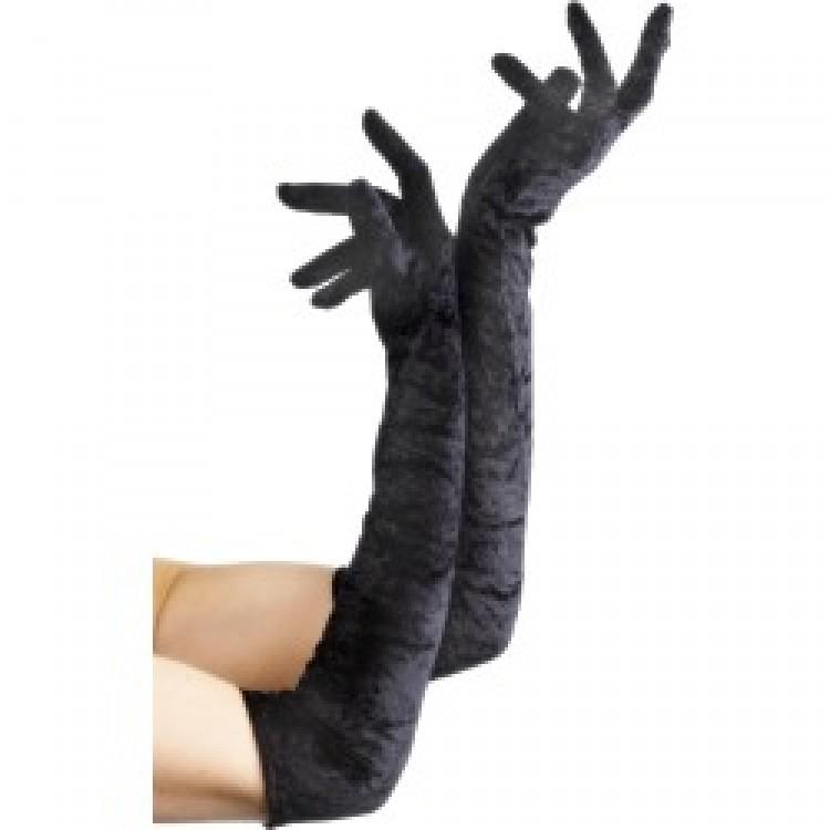 Black Long Velveteen Gloves