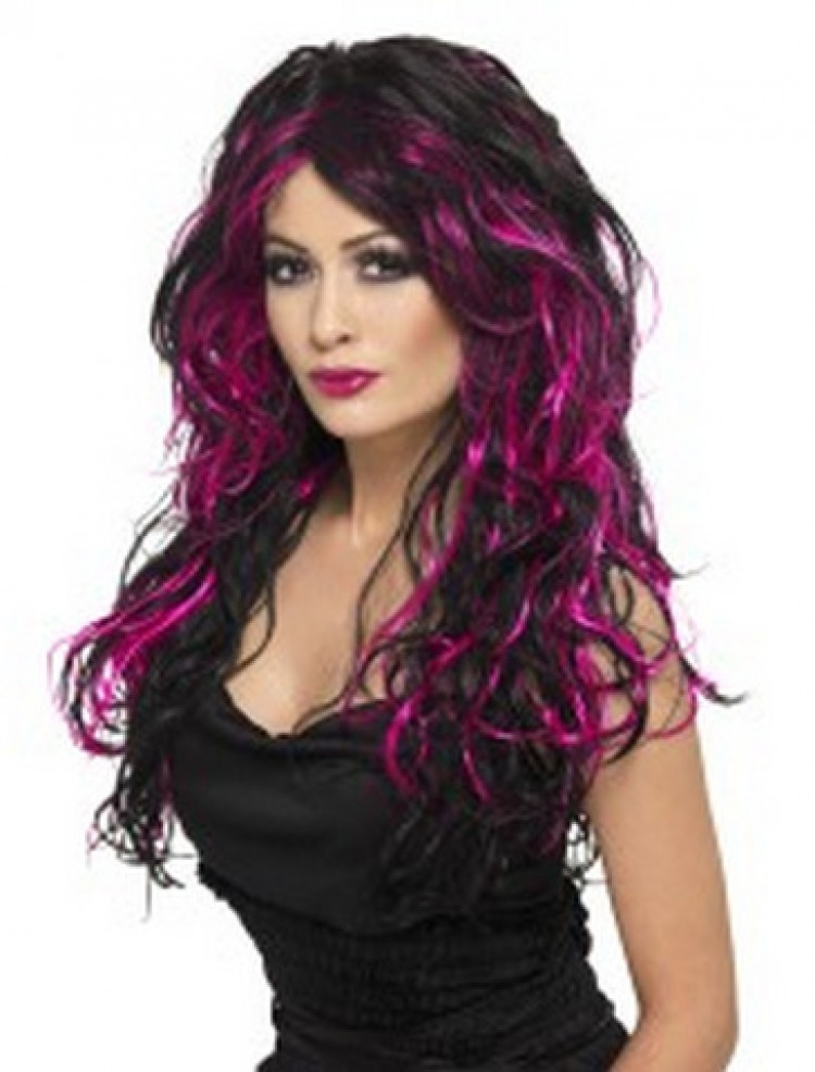 Gothic Bride Wig, Black and Pink