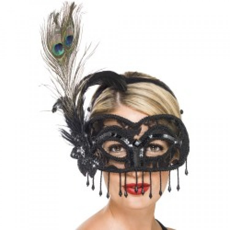 Black Colombina Lace Eyemask with Peacock Feather
