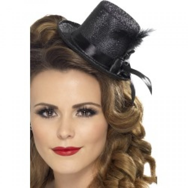 Black Glitter Mini Top Hat with Ribbon