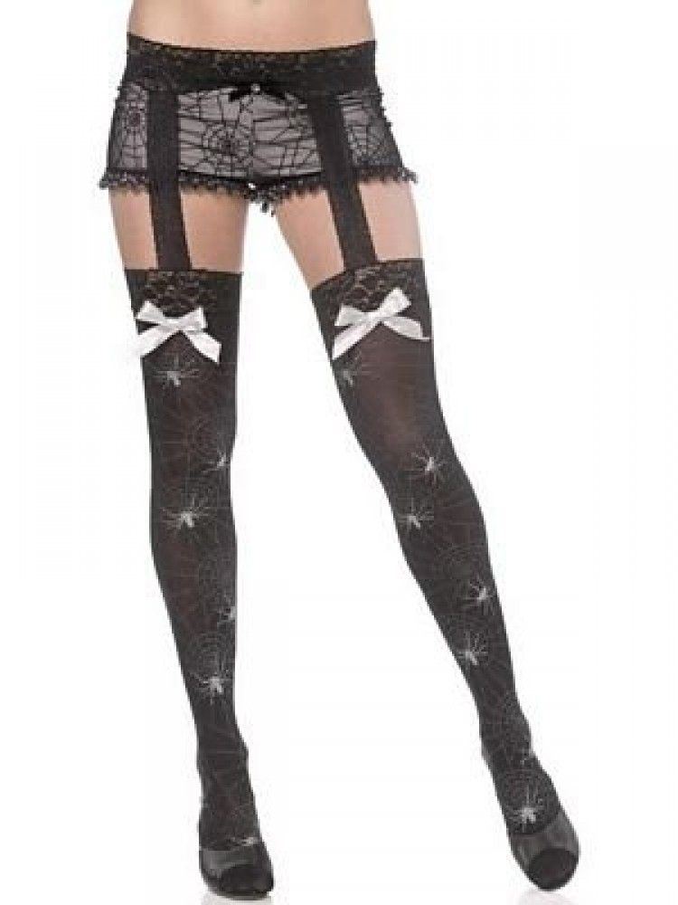 Thigh High Spider Web Print Stockings And Garter