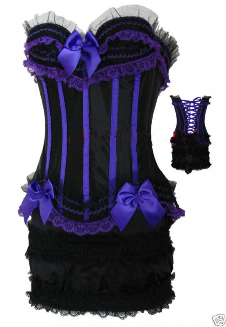 Black and Purple Corset Top with Ruffled Ruched Skirt