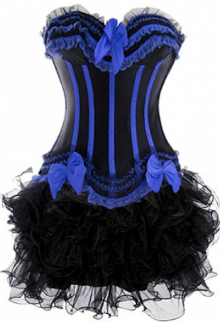 Black and Blue Corset Top with Burlesque Tutu