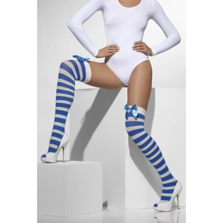 Blue And White Striped Opaque Hold Ups With Bows