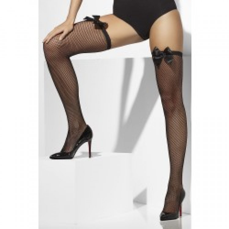 Fishnet Hold-Ups with Bows