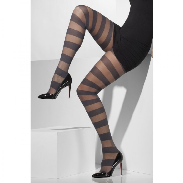 Sheer Tights With Horizontal Grey Stripes