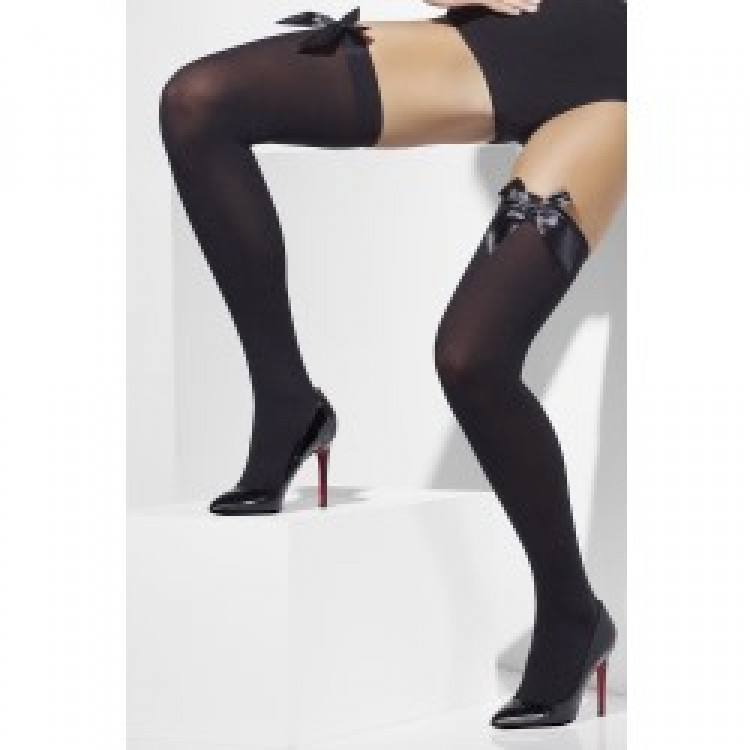 Black Opaque Hold-Ups with Black Bows