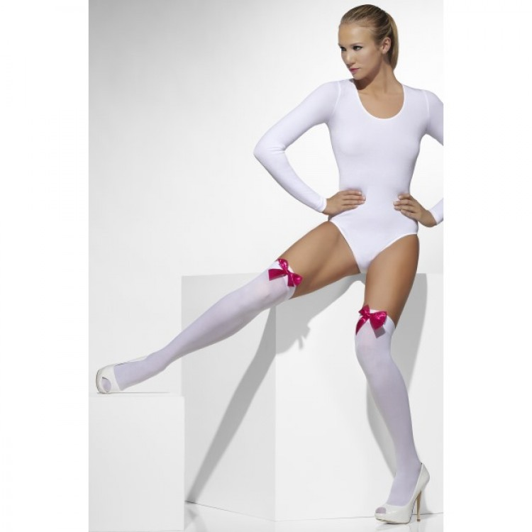 Opaque Hold Ups In White With Fuchsia Bows