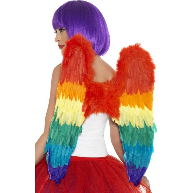 Rainbow Burlesque Feather Wings