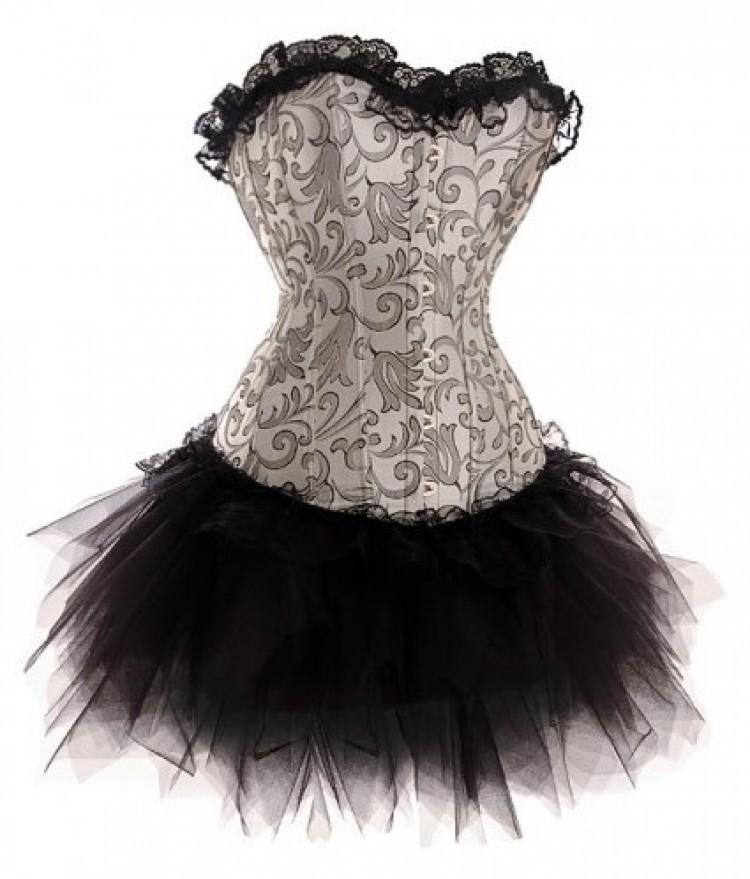 Silver Corset Top & Tutu Skirt