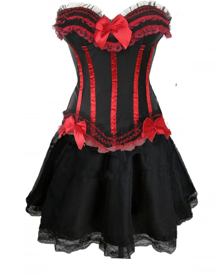 Black and Red Corset Top with Burlesque Skirt