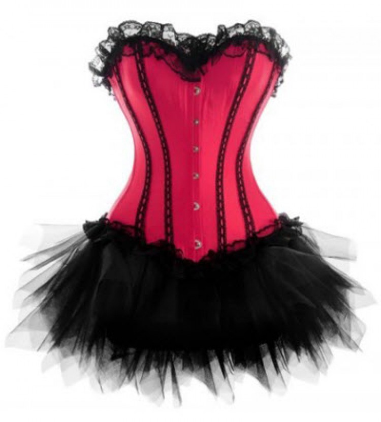 Dark Candy Pink Lace-up Corset Outfit