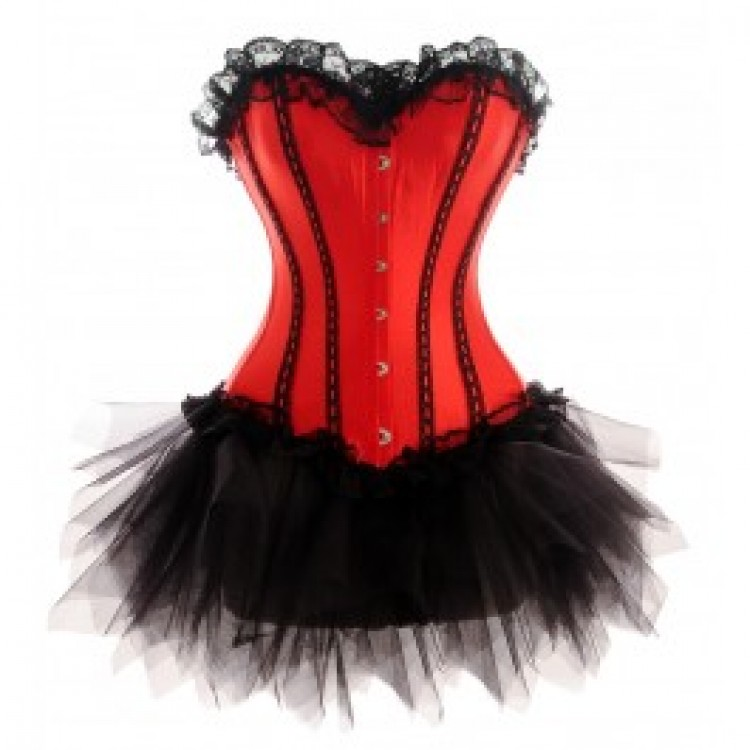 Red Lace-up Corset Outfit