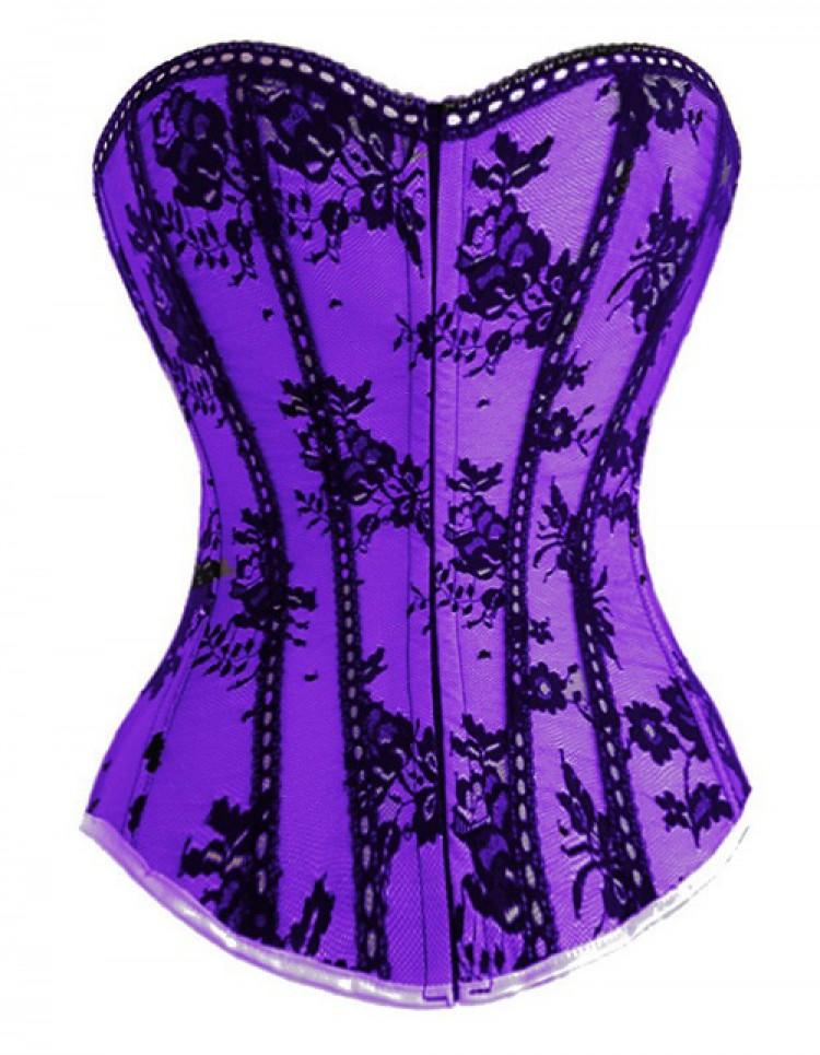 Purple Satin & Black Lace Corset