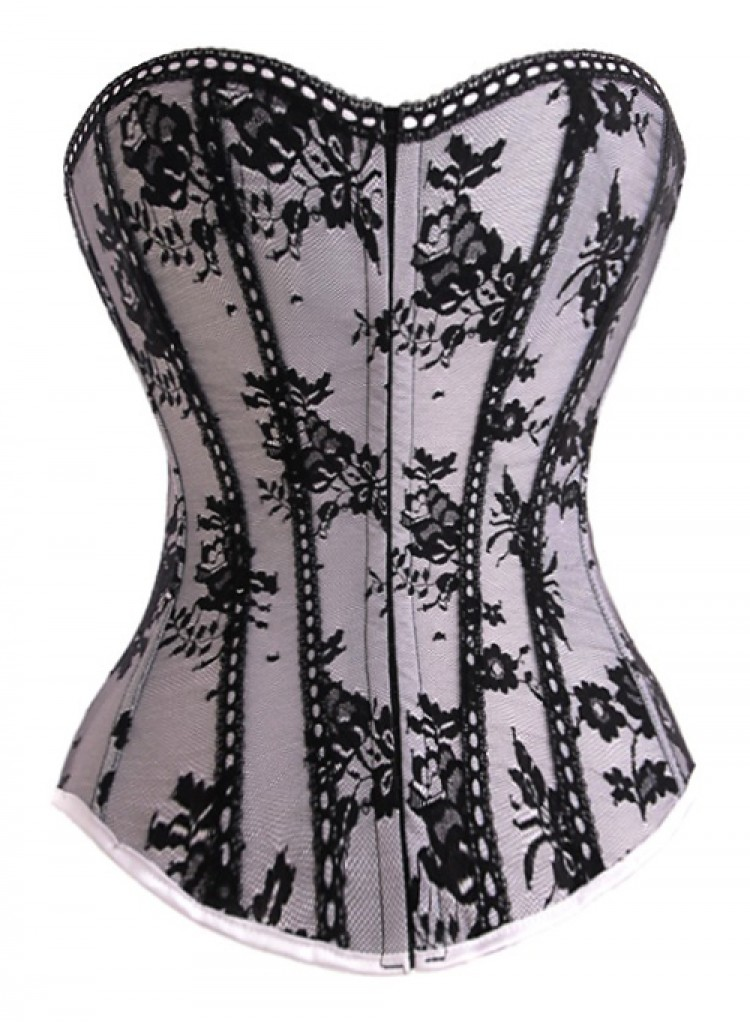 Silver Satin & Black Lace Corset