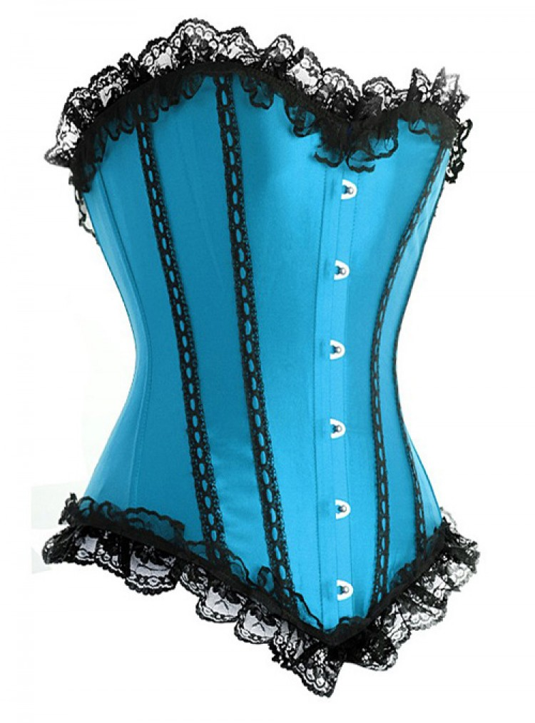 Turquoise Satin Corset Top with Lace Ruffles
