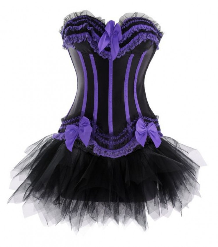 Black and Purple Corset Top with Tutu Skirt