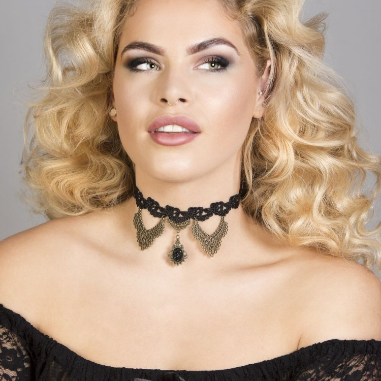 Angelique Black Lace Gothic Choker