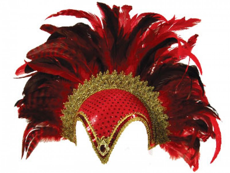 Stunning feather plume helmet in Red & Gold