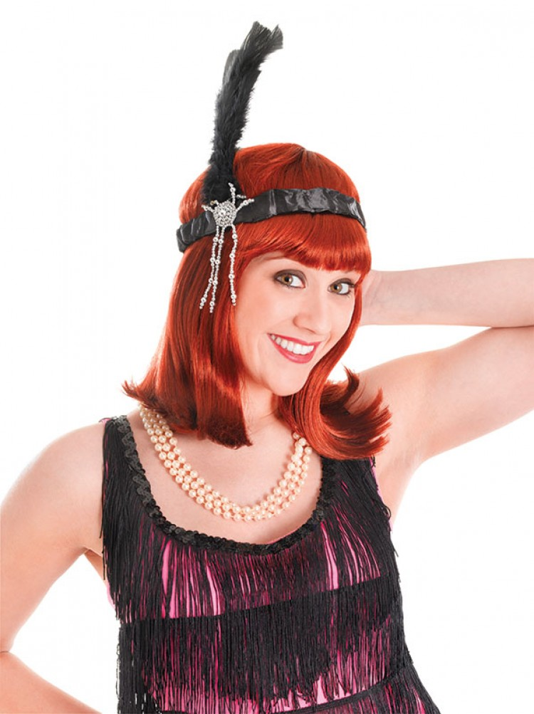 Black Feather Flapper Beaded Headband
