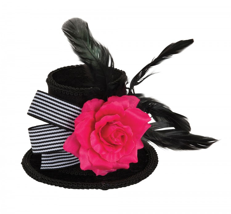 Black Hat With Pink Rose