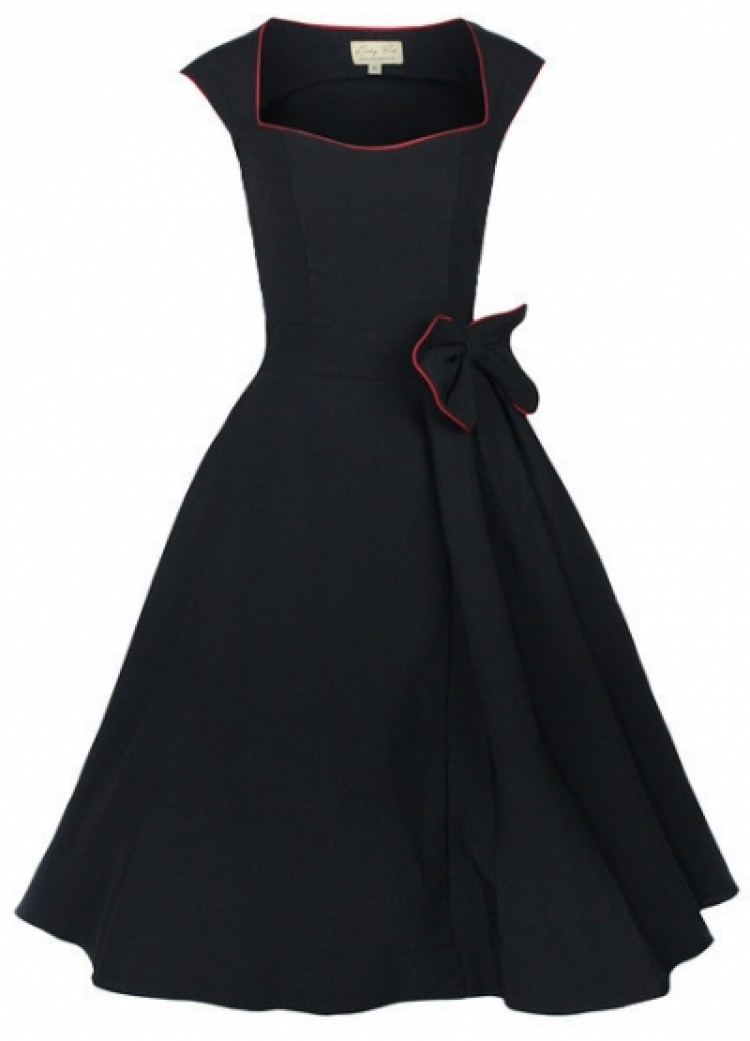 Retro Bow Black Dress
