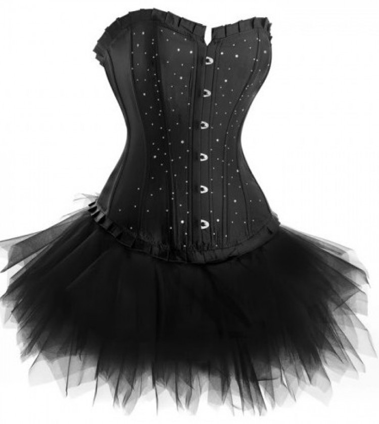 Black Diamante Corset Outfit